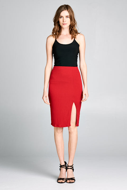 Comfy Side Slit Detail Pencil Skirt | 2 Colors Available
