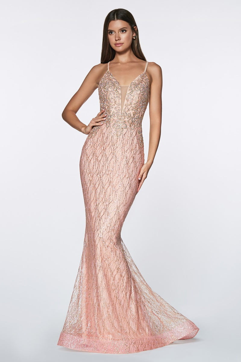 Fitted Glitter Gown w/ Lacey Bodice and Deep Plunge Neckline | 2 Colors