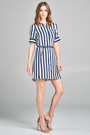 Striped Belted Button-Up Shirt Dress | 2 Colors Available