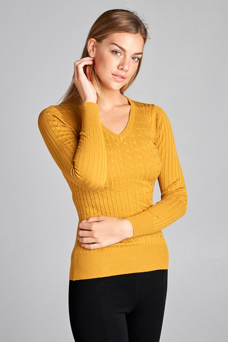 LS V Neck Knit Top