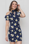 Navy Blue Floral Printed Open Shoulder Dress