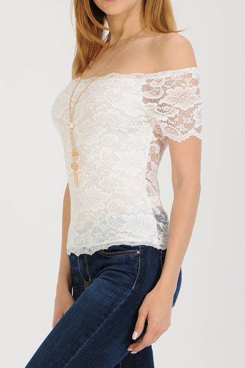 Short Sleeve Off The Shoulder Lace Top | 2 Colors