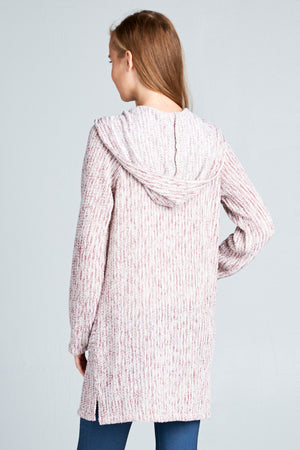 Knit Long Cardigan Hoodie Sweater | 2 Colors Available