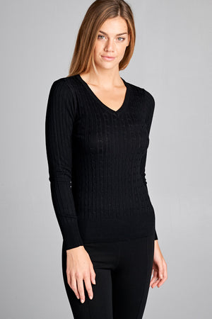 Ribbed V-Neck Long Sleeve Top