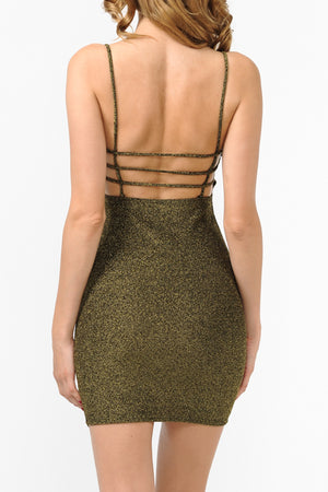 Lurex Caged Back Detail Cami Bodycon Dress | 3 Colors available