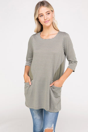 Stripe Knit Tunic Dress w/ Side Pockets | 3 Colors Available