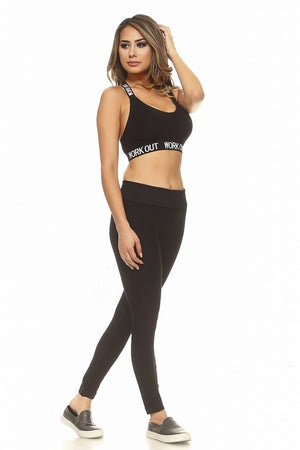 """Work Out"" Logo Band Athletic Sports Bra"