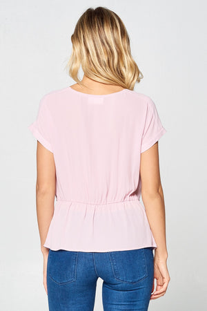 Solid Short Sleeve Blouse w/ Front Bow | 3 Colors