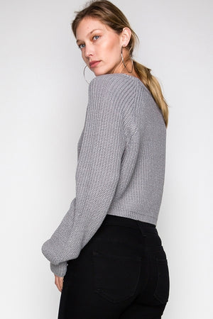 Cropped Long Sleeve Pull Over Sweater | 2 Colors Available
