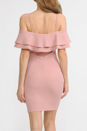 Ruffle Trim Open Shoulder Dress | 3 Colors