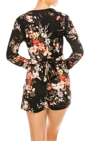 Floral Surplice Neckline Romper w/ Waist Tie | 2 Colors Available