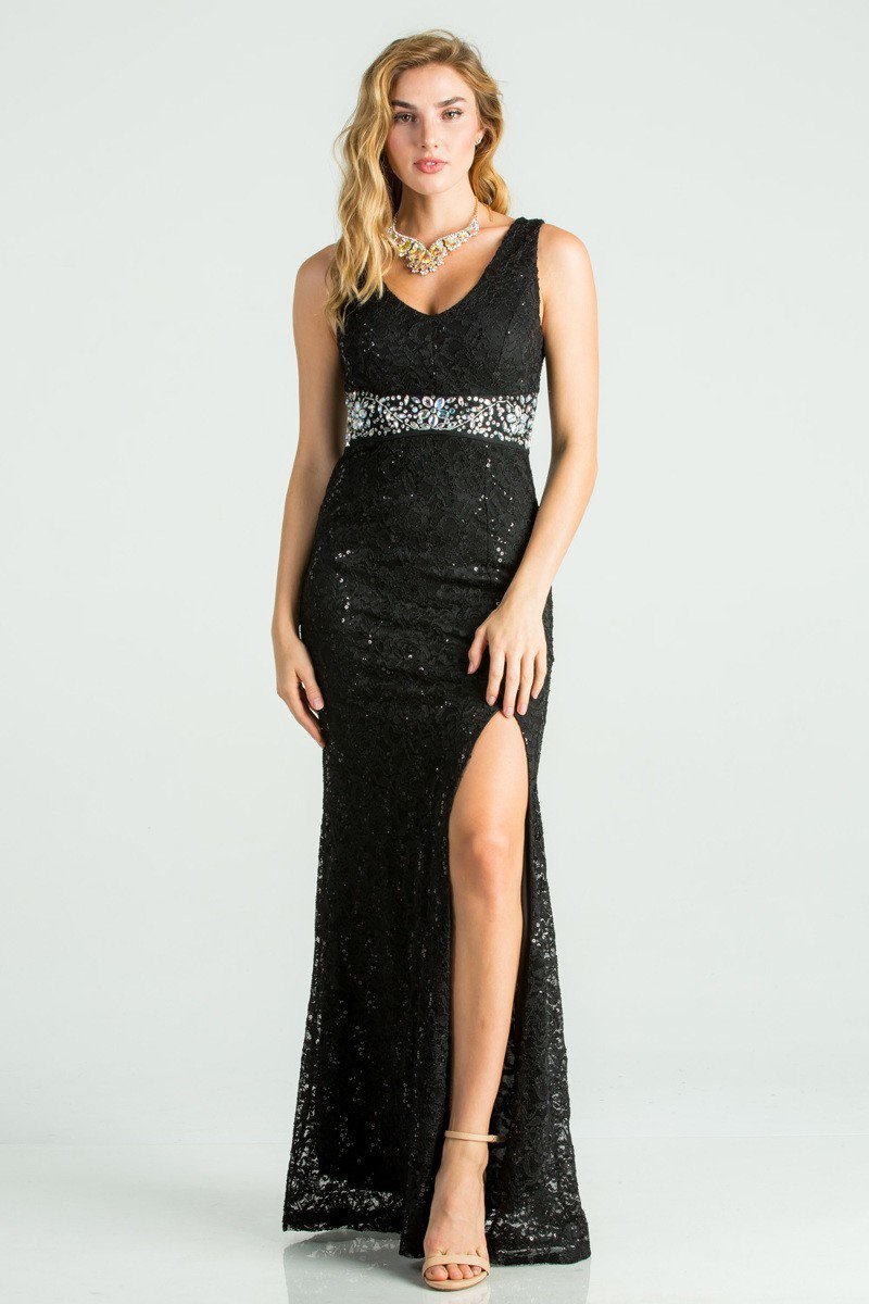 Side Slit Trance Lave Gown w/ Waist Embellishment | 4 Colors Available
