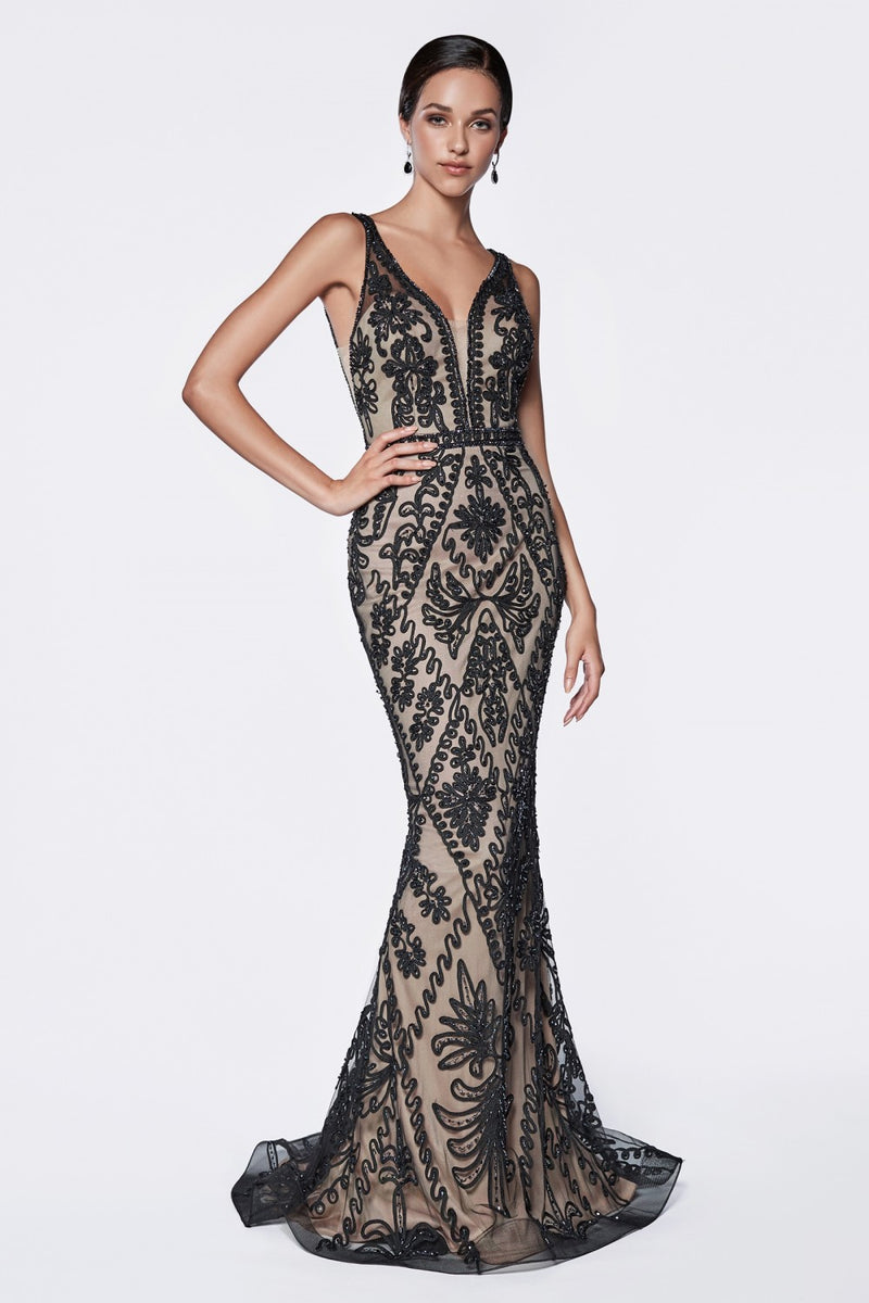 Fitted Embellished gown w/ Deep V-Neckline and Open Back