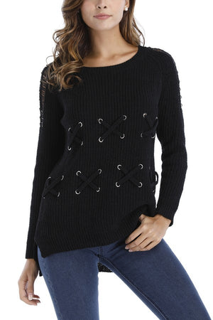 Criss Cross Stitch Embellished Shoulder Detail Sweater | 3 Colors Available