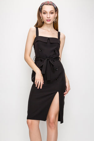 THICK STRAP STRUCTURED MILITARY DRESS WITH FRONT SLIT AND WAIST TIE