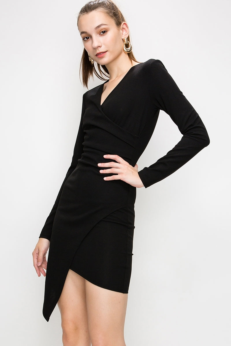 Long Sleeve Bodycon Dress w/ Asymmetrical Skirt | 3 Colors Available