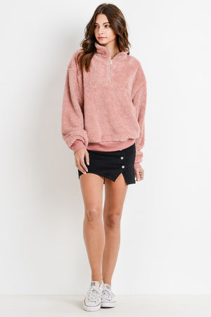 Fleece Half Zip-Up Pullover | 2 Colors Availables