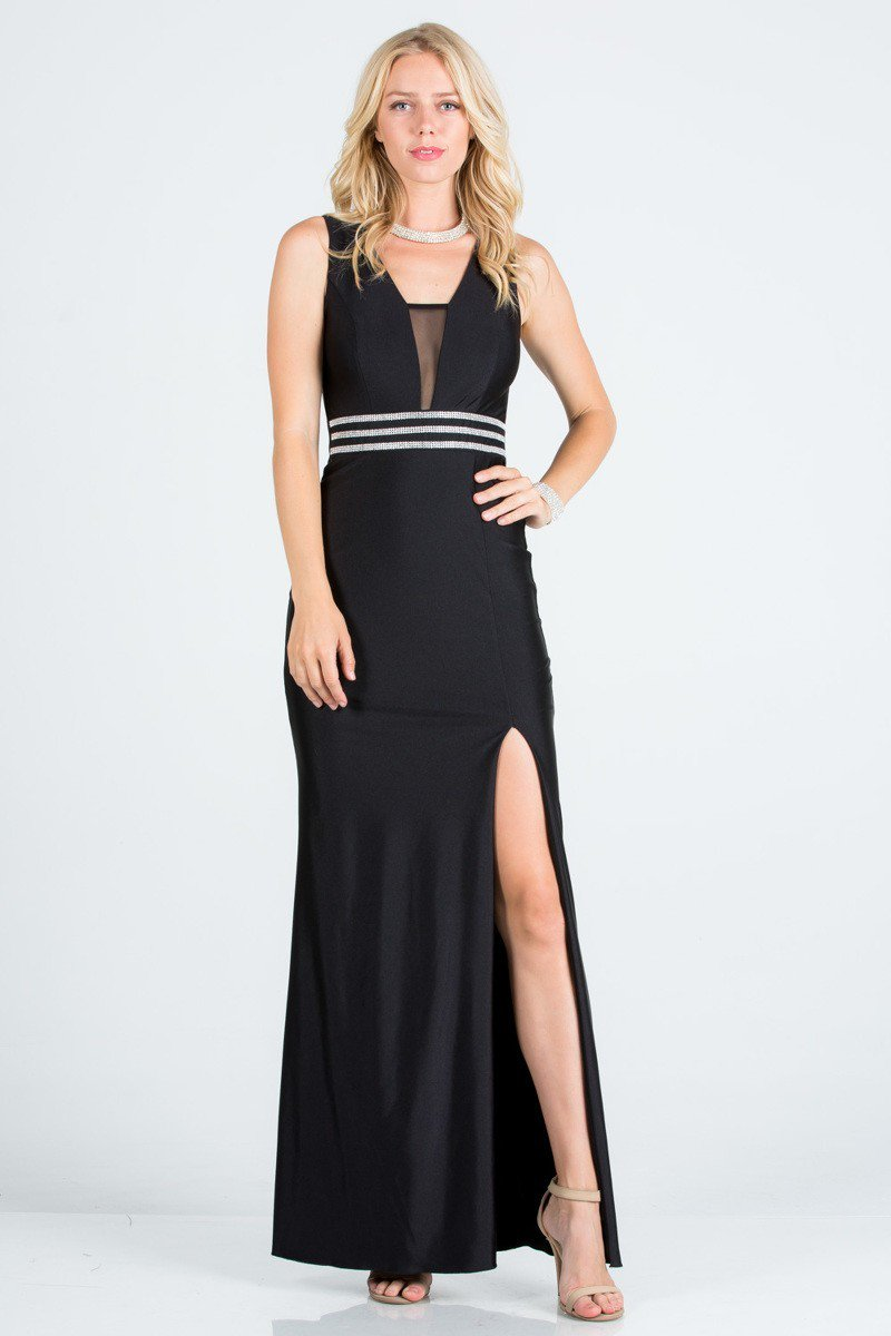 Embellished Waist Sleeveless Shiny Tricot Gorn w/ Side Slit