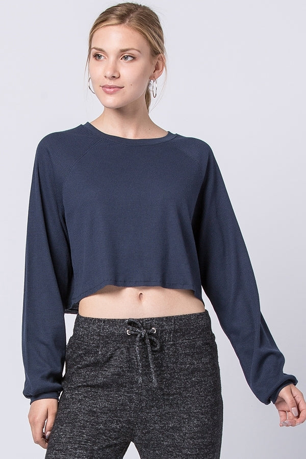 Solid Crop Top Long Sleeve | 3 Colors available