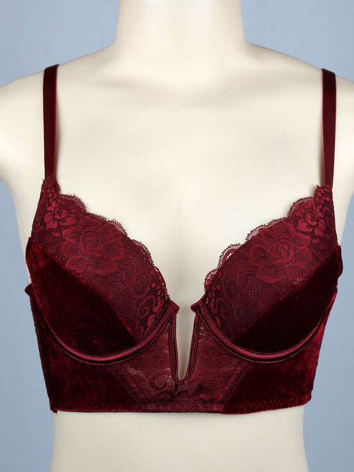 Deep V Velvet Long Line Lace Push Up Bra (6pcs/PACK)
