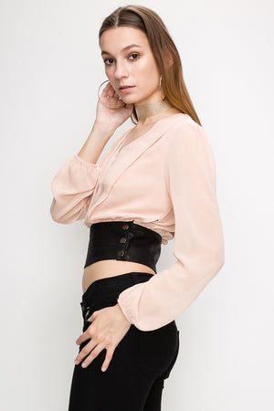 V Neck Long Sleeve Shirt w/ Pleather Band Waist | 4 Colors Available