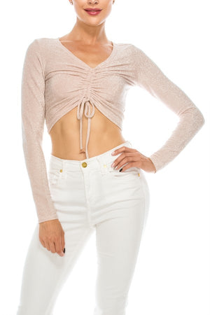 Solid Front Runched Detail Metallic Crop Top | 5 Colors Available
