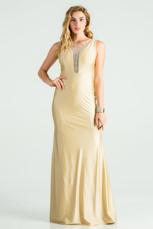 Front Mesh & Rhine Stone Detail Tricot Mermaid Dress | 4 Colors Available