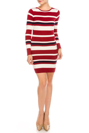 Multi-Color Striped Bodycon Fit Knit Dress w/ Long Sleeves | 3 Colors Available