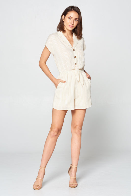 Linen Romper w/ Stripes | 2 Colors