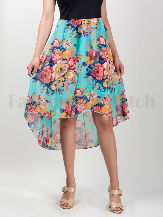 Sleeveless High Low Floral Print  Dress