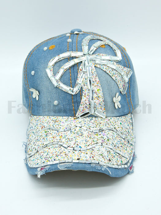 Denim Glittering Ribbon Baseball Cap