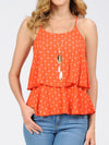 Two Layered Ruffle Cami Top with Necklace | 3 Colors