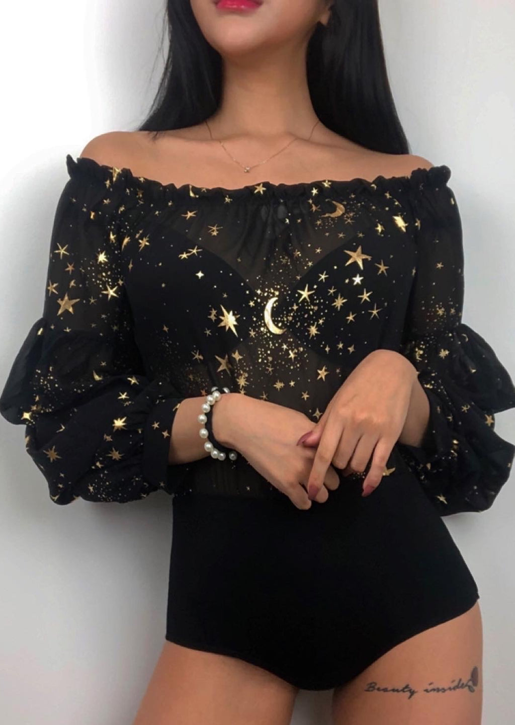 Moon Star Off The Shoulder See Through