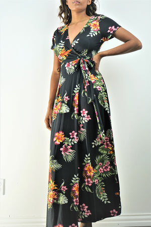 Navy Blue Floral Printed Wrapping Maxi Dress