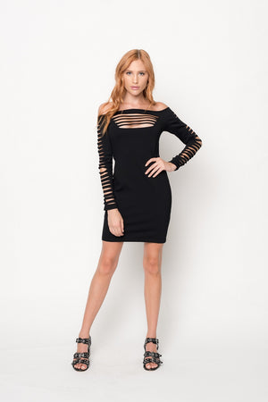 Dress w/ Shredded Bust Panel and Long Sleeve w/ Shredded Detail