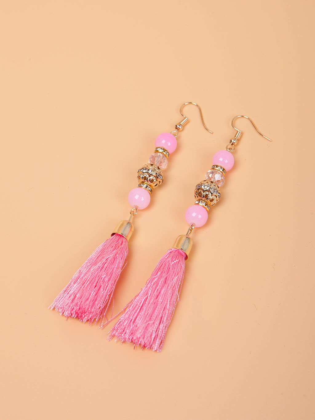 Color Stone Beaded Dangle Tassel Earrings | 6 Colors