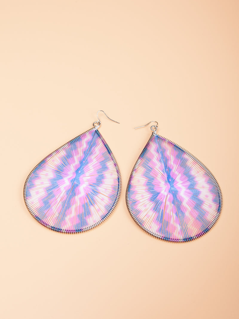 Teardrop Chevron Print Bold Earrings