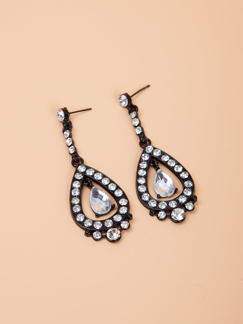 Shiny Glass Teardrop Earrings