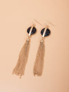Marble Button Chain Tassel Dangle Earrings | 2 Colors