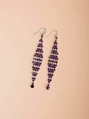 Purple Rhinestone Drop Earrings