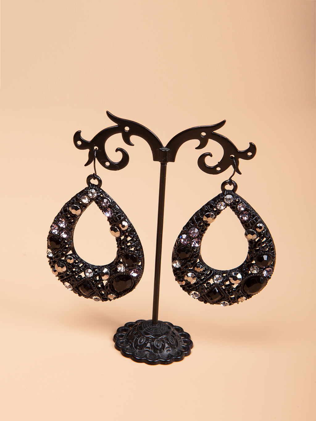 Dewdrop Rhinestone Studded Earrings