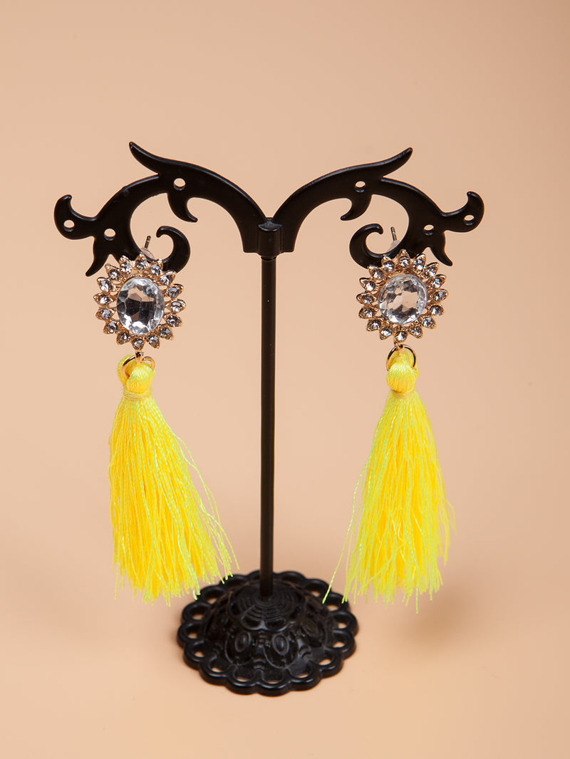 Flower Rhinestone Studded Tassel Drop Earrings | 7 Colors