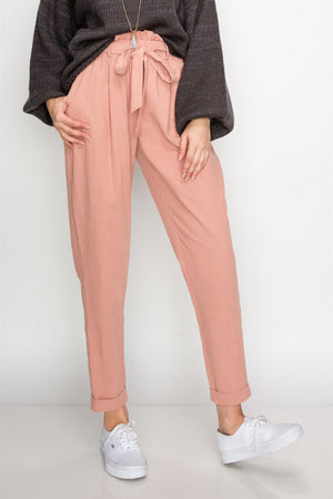 High Waist Pants w/ Waffle Elastic Waist Bow Tie | 6 Colors