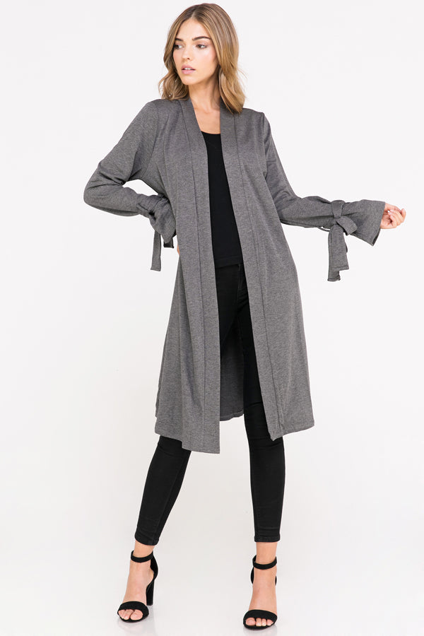 Solid Knit Cardigan w/ Sleeve Tie | 2 Colors Available