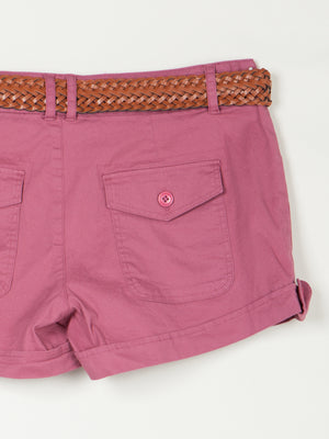 Roll-Up Hem Cotton Cargo Shorts with Belt | 5 Colors