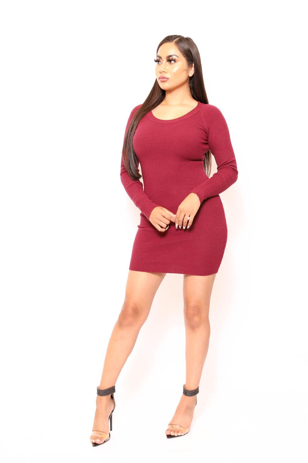 Ribbed Knit Round Neck Mid Sweater Bodycon Dress