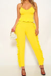 2pc Neon Set w/ Ruffled Torso Spaghetti Strap Top & Tapered Pants