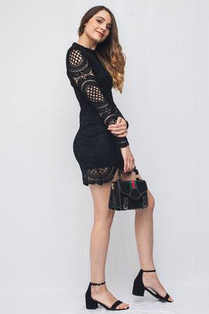 Black Crochet Dress