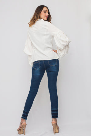 DLB1167 white button down blouse with pearls on sleeves