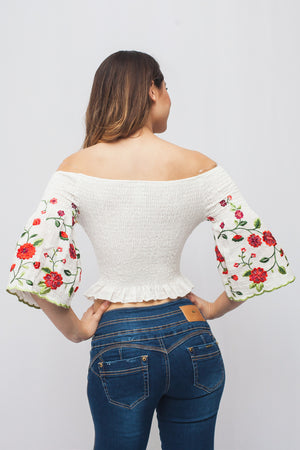 Off White Open Shoulder w/ Flower Embroidery | 2 Colors Available